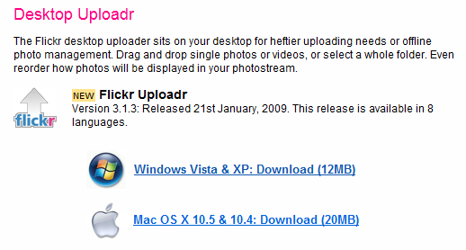 New flickr uploader 3.1.3