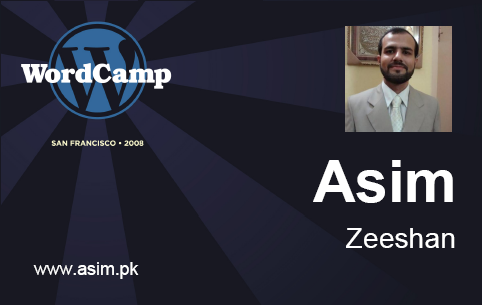 PHP Generated Sample Badge using FPDF for Asim Zeeshan