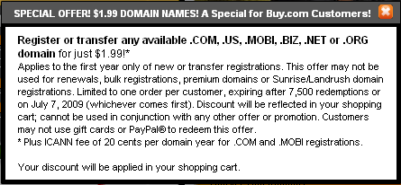 199BUYCOM - $1.99 Domain Name Offer from Godaddy.com
