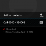 The missed call log (unknown caller)