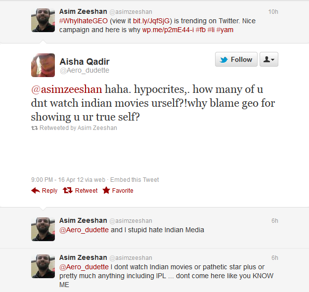 Aisha Qadir (@Aero_dudette) on Twitter defending GEO TV and somewhat promoting Indian Modia
