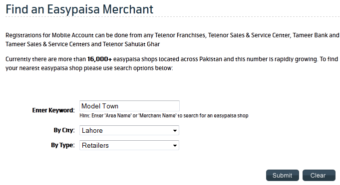"Telenor EasyPaisa ""Find an Easypaisa Merchant"" search form"