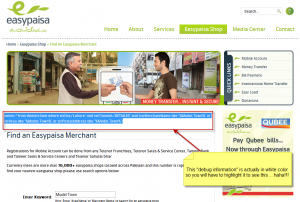 "Telenor EasyPaisa ""Find an Easypaisa Merchant"" search results with SQL query shown on page"