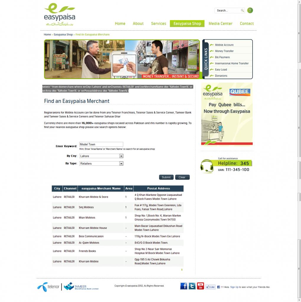 """FULL VIEW - Telenor EasyPaisa """"Find an Easypaisa Merchant"""" search results with SQL query shown on page"""