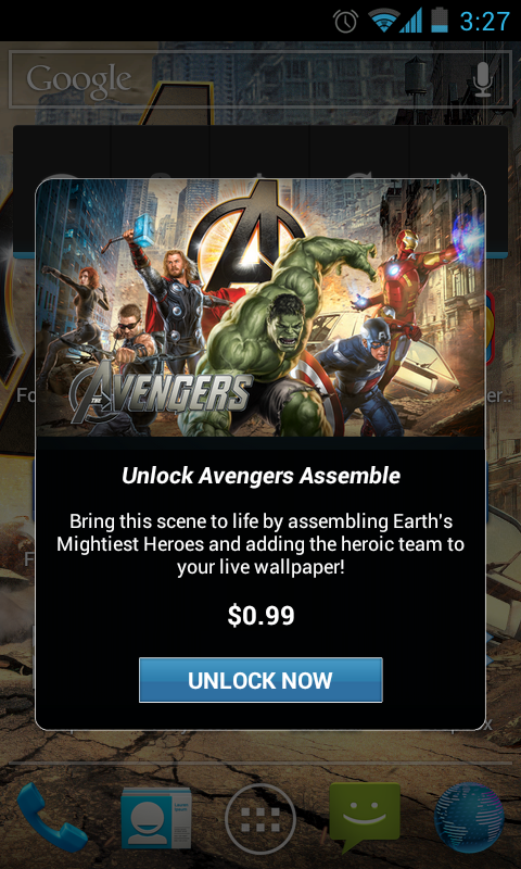The Avengers Live Wallpaper nag screens