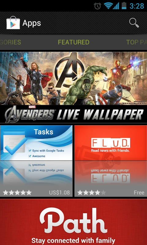 The Avengers Live Wallpaper as featured on Google Play