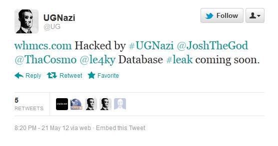 UGNazi Tweet mentioning WHMCS hacked files