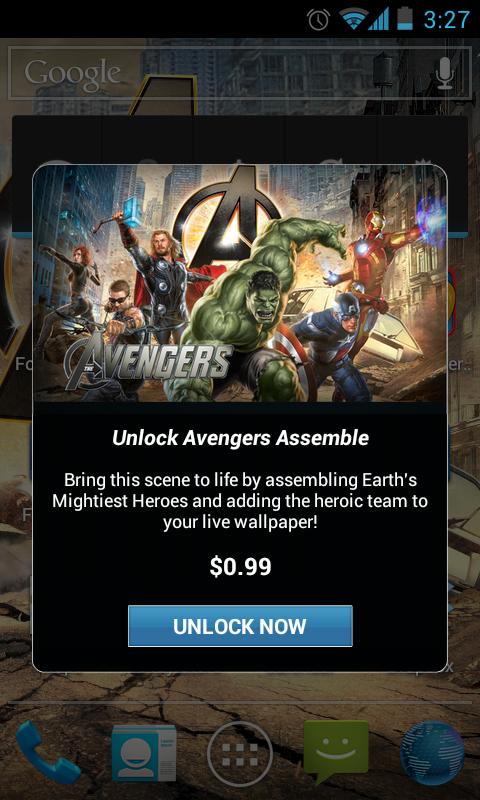 The Avengers Live Wallpaper nag screens